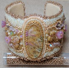 Bead Embroidered Cuff Bracelet...