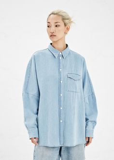 Acne Studios Jetson Denim Top (Bleached Denim)  possible shirt inspiration for TFP--tencel, instead of traditional shirt, boxy, drop sleeve