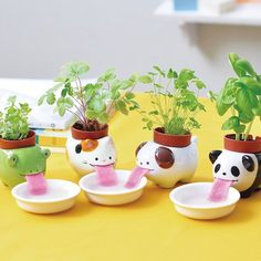 Check out these super adorable self-watering pots by Fist Case. They look like little animals drinking!