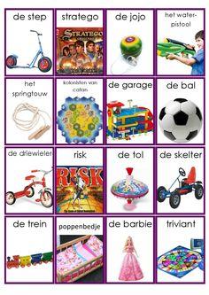 Speelgoed woordkaarten - deel 2 Learn Dutch, Kindergarten, Dutch Language, Barbie, Montessori Materials, Speech And Language, New Words, Pre School, Learning