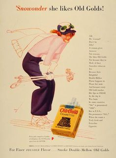 1939 Ad Old Gold Cigarettes George Petty Snow Ski Pinup Original Advertising