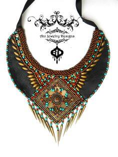 tribal boho Native American bib necklace leather with bead embroidery bronze black Ani Jewelry Design Anita Nestorovks Skopje  https://www.facebook.com/AniDandelionBeadedEmbroideryJewelryDesigns?ref=hl
