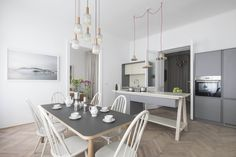 Modern Home by Destilat. A place where elegant contemporary lines are combined with charming vintage pieces and the spirit of old classic Viennese. Style At Home, Modern Style Homes, Kitchen Dinning Room, Dining Table, Vienna Apartment, Design Studio, House Design, Kitchen Interior, Kitchen Design