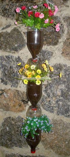 jardineira vertical de garrafa pet