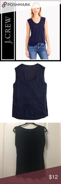 J. Crew Prima Jersey tank Perfect like new - maybe worn once, size small - Soft. Drapey. Addictive. With rolled sleeves and a cool tomboyish fit, our prima tank is kind of amazing. Wear it lounging around or going out at night. One thing's for sure—you won't want to go back to your regular T-shirts. * Modal® rayon/nylon. * Machine wash. J. Crew Tops Tank Tops