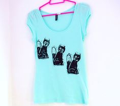 Fox Print T-Shirt - Mint Green Pastel Womens Top - Hand Printed with Black Foxes - Quirky & Cute Cotton T Shirt - Under 15 Pounds. £12.00, via Etsy.