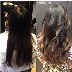 Natural balayage highlights on my brown hair with complimenting layered haircut. | Yelp