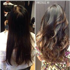 Natural balayage highlights on my brown hair with complimenting layered haircut. | Yelp