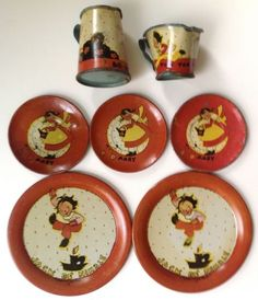 Vintage-1942-Ohio-Art-tin-litho-toy-tea-set-Fern-Bisel-Peat-Mother-Goose