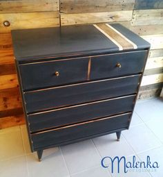 Mid-century dresser painted in Annie Sloan's Graphite with natural wood racing stripe.