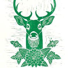 Original Deer Linocut Block Print Hand Printed in door DoeAndHart, $35.00
