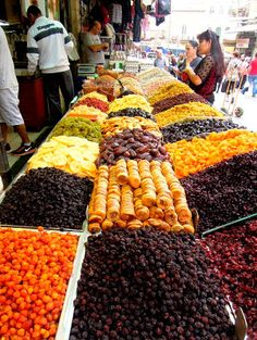 Dried fruit everywhere at the Jerusalem food market in Israel