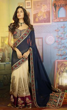 #Designer Sarees #Blue & Cream #Indian Wear #Desi Fashion #Natasha Couture #Indian Ethnic Wear
