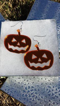 Mirrored Orange Acrylic Pumpkin Earrings by EngravingByJen on Etsy, $12.00