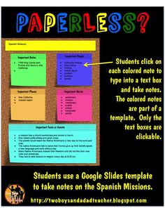 Google Slides:  Is the Future Paperless? Are you unsure how to go paperless?  What are the possibilities of a paperless classroom?  Come read about how I've created some resources for my third graders to use in our 1:1 Chrome Book classroom.  See how I have my students take notes on a template as well as some other ideas for Google Slides and PDFs.  Come check it out!