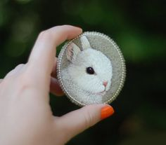 Little bunny . brooch . handmade . felt . needle felted by cOnieco