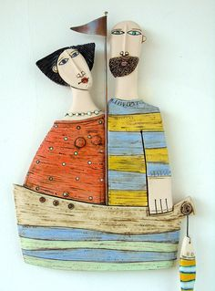 Husband and Wife Ceramic Sculpture Fine Art CeramicsWall
