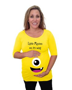 maternity halloween shirt with little mnion on by djammarmaternity
