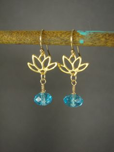 Gold Lotus Earrings Yoga Jewelry Turquoise by ShinyLittleBlessings, $24.00
