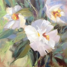 "Daily Paintworks - ""White Camellia"" by Jean Fitzgerald"