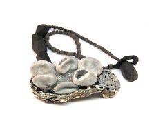 Linda Ezerman. Neckpiece: Mea Culpa Great Barrier Reef, 2014. Japanese Oyster, leather, felt, silk, silicone, agate, glass beads, silver, resin.