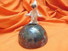 Ceramic vase sculpture Pulcinella and black by PulcinellaCeramics
