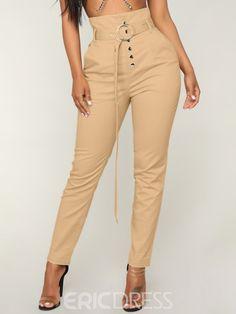 a6203e162c60 Ericdress Button Belt Slim Women s Pencil Pants Party Dresses Uk