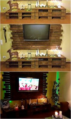 Usually people don't go for the furniture and the decoration items created with the upcycled pallets, but they love the idea of adorning a home with the pallets décor table and shipping pallet wall art for TV when they visit any home. You can see how good it looks when there is a pallet wall art behind the TV and table under it.