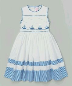 Look at this Emily Lacey White Smocked Sailboat Dress - Infant, Toddler & Girls on today! Toddler Girl Style, Toddler Dress, Infant Toddler, Toddler Girls, Little Girl Outfits, Little Girl Dresses, Kids Outfits, Baby Girl Dresses, Baby Dress