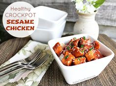 Healthy & Easy Crock Pot Sesame Chicken with ALittleClaireification.com #crockpot #recipes #chinese