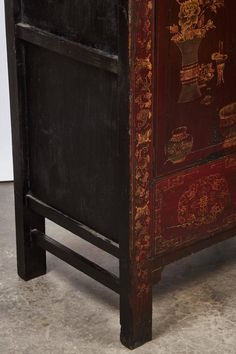 18th Century Oxblood Chinese Chinoiserie Lacquered Cabinet