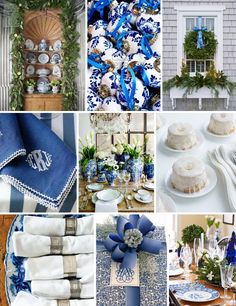 A Blue And White Christmas! Blue And White Vignette! Blue Christmas Decor, Coastal Christmas, Christmas And New Year, Christmas Themes, White Christmas, Christmas Holidays, Christmas Decorations, Holiday Decor, Christmas China