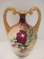 Jug Vase Double Handled Gold Trim Porcelain Vintage Antique Rose Design