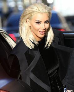 Kim Kardashian goes Platinum Blonde for Paris Fashion Week 2015