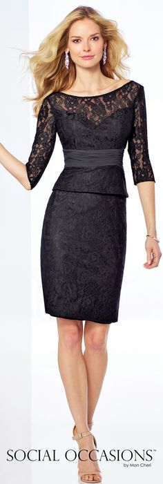 Short Evening Dresses by Mon Cheri - Spring 2017 - Style No. 117816 - two-piece black lace short evening dress with ruched chiffon waistband
