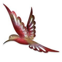 Handcrafted Iron 'Rosy Hummingbird' Medium Wall Sculpture (Mexico)