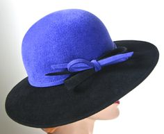 Black and Royal Blue Fur Felt Medium Brim Hat for Women, by MakowskyMillinery on Etsy https://www.etsy.com/listing/210553820/black-and-royal-blue-fur-felt-medium