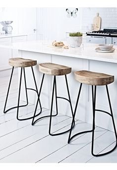 NEW Weathered Oak and Metal Stool - Scandi Kitchen - Get The Look - Kitchen