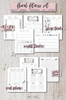Bullet Journal FITNESS Set of printable planners – Insert templates Journal Template, Planner Template, Printable Planner, Printables, Fitness Journal, Fitness Planner, Tacker, Printable Workouts, Bullet Journal