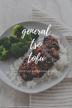 General Tsos Tofu is ready in less than 25 minutes. This vegan tofu recipe is an at-home twist on the classic Chinese tofu recipe and is becoming one of my favorite firm tofu recipes. Chinese Tofu Recipes, Firm Tofu Recipes, Vegan Recipes Easy, Asian Recipes, Vegetarian Recipes, Savoury Recipes, Vegan Foods, Vegan Meals, Vegetarian