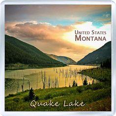 $3.29 - Acrylic Fridge Magnet: United States. Montana. Quake Lake