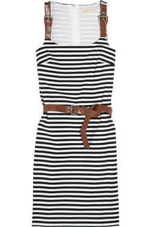 ec443d6d3e4c4 Michael by Michael Kors Striped Stretch-jersey Dress - Lyst Striped Dress,  Casual Outfits