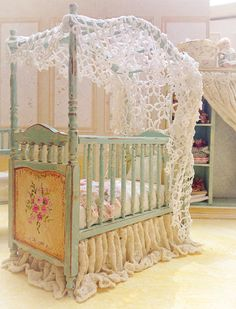 Country Baby Crib by MaritzaMiniatures If I am having a little girl this would be so adorable.
