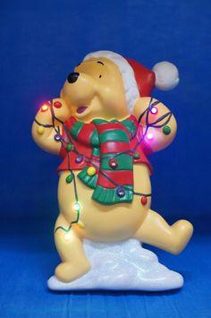 Winnie Pooh Tangled Christmas Lights LED Plaque Figurine Disney Precious Moments #PreciousMoments