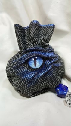 Small 20 Dice Bag in  Genuine Suede Leather With A Cabochon Dragons Eye by EmBraceLeather on Etsy