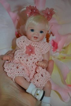 "Original Art OOAK Polymer Clay baby doll girl 7.5"" Amelia by Yulia Shaver"