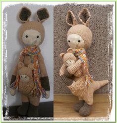 Kira de kangaroe is 48cm. patroon van Lalylala