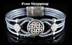 Celtic Jewelry - Leather Bracelet - Eco - Personalized - Men - Women - Bracelets - Magnetic clasp - European Quality