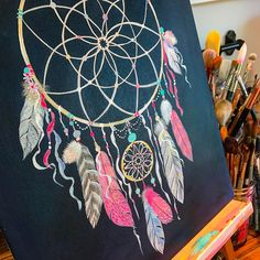 Working on the dark background now. #dreamcatcher #paint #acrylic #feathers #sweetdreams
