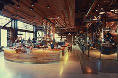 Starbucks Reserve Roastery and Tasting Room Starbucks Seattle, Starbucks Reserve, Starbucks Coffee, Seattle Coffee, Industrial Coffee Shop, Seattle Photos, Brew Pub, Global Design, Tasting Room